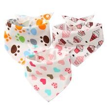 Cotton Bib Baby Triangle Double Bibs Cartoon Print Saliva Towel Boys Girls Feeding Apron Bandana muslin