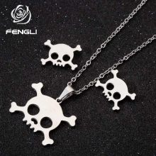 FENGLI Origami Shantou Earring and Necklace Sets for Women Girls Stainless Steel Jewelry Set Skeleton Pendant colar feminino(China)
