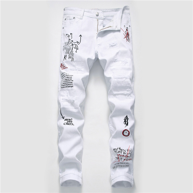 New Men Jeans Letter Printed Ripped Jeans For Men 100% Cotton White Denim Fashion Man's Jeans #5647