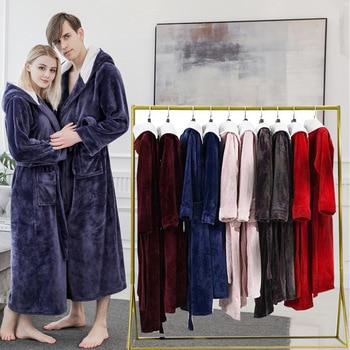 Pareja de talla grande largo cálido Albornoz de franela invierno con capucha Coral vellón bata baño hombre ropa de dormir mujeres bata Sexy Batas