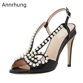 Pearl Beading High Heels Sexy Hollow Sandals Peep Toe Stiletto Heel Runway Shoes Black Genuine Leather High Heels Sandalias 2020