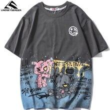 LINDSEY SEADER homme T-shirt bonjour Raggy ours imprimé coton décontracté Harajuku manches courtes Hip Hop haut oversize T-shirts T-shirt