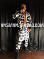 Men's black white letters jacket pants apron 3pcs set nightclub hip hop baseball uniform suit gogo party male female tracksuit