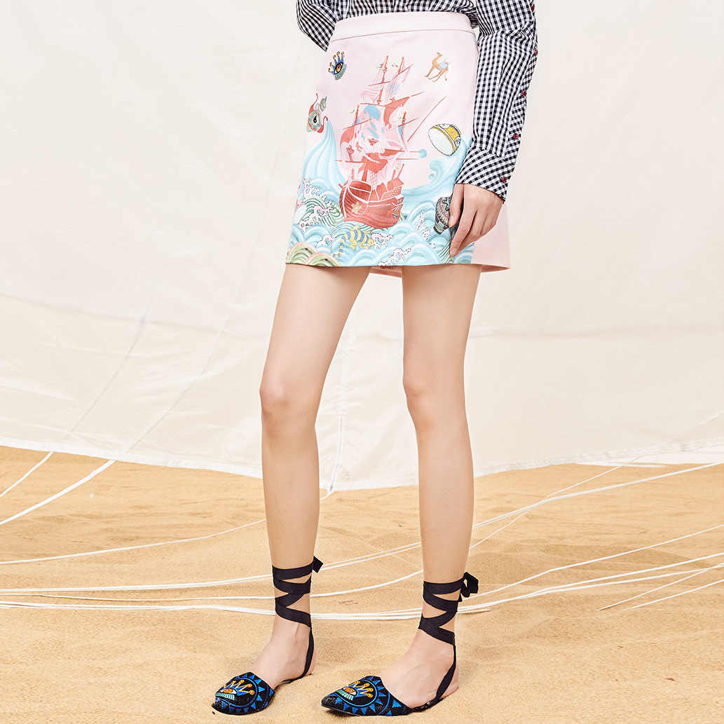 Popular Brand Clothing Women's 2018 New Style Hand-Painted Pattern Skirt 3D Printed Plans to Sample Small Batch Production Custo