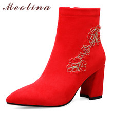купить Meotina Autumn Ankle Boots Women Zipper Thick High Heel Short Boots Embroider Pointed Toe Wedding Shoes Lady Winter Red Size 43 дешево