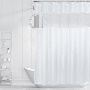 UFRIDAY-cortina de ducha de tela blanca con ventana de malla, cortina de baño impermeable, estilo clásico, poliéster, pantalla de cortinas