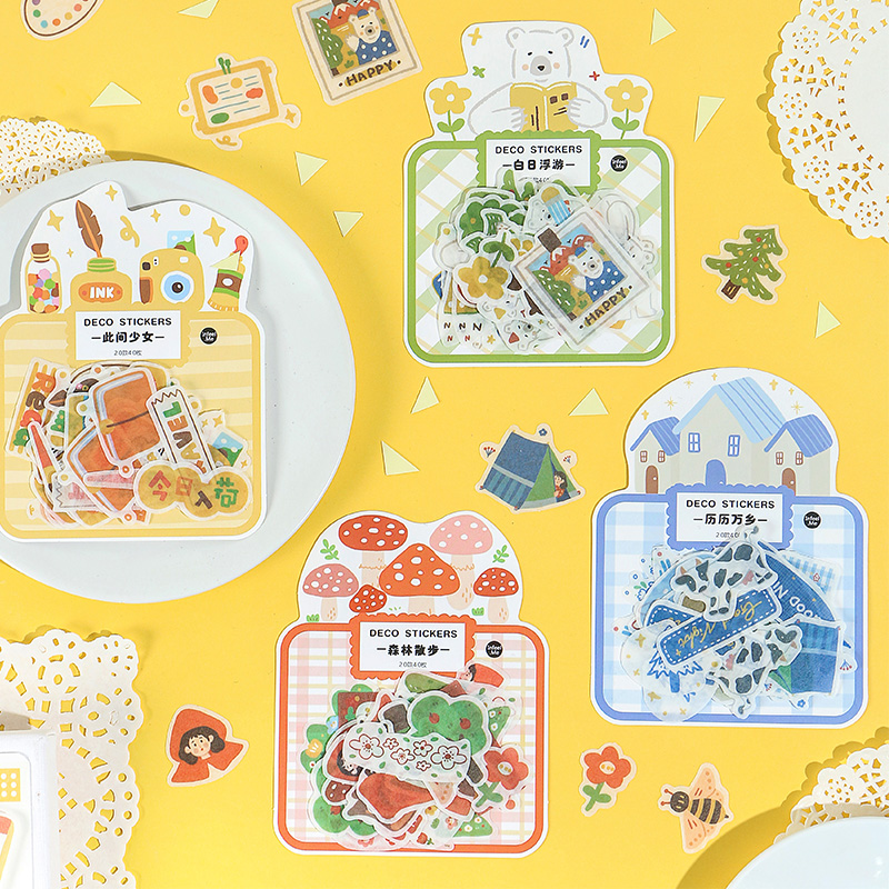 8bags/LOT Northern Fairy Tales Creative Decoration DIY Sticker Masking Washi Sticker