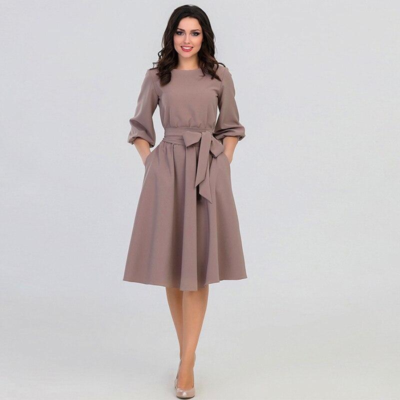 Женское платье с высокой талией QRWR, повседневное винтажное платье средней длины с пышными рукавами, лето осень 2020|Платья|   | АлиЭкспресс - Платья