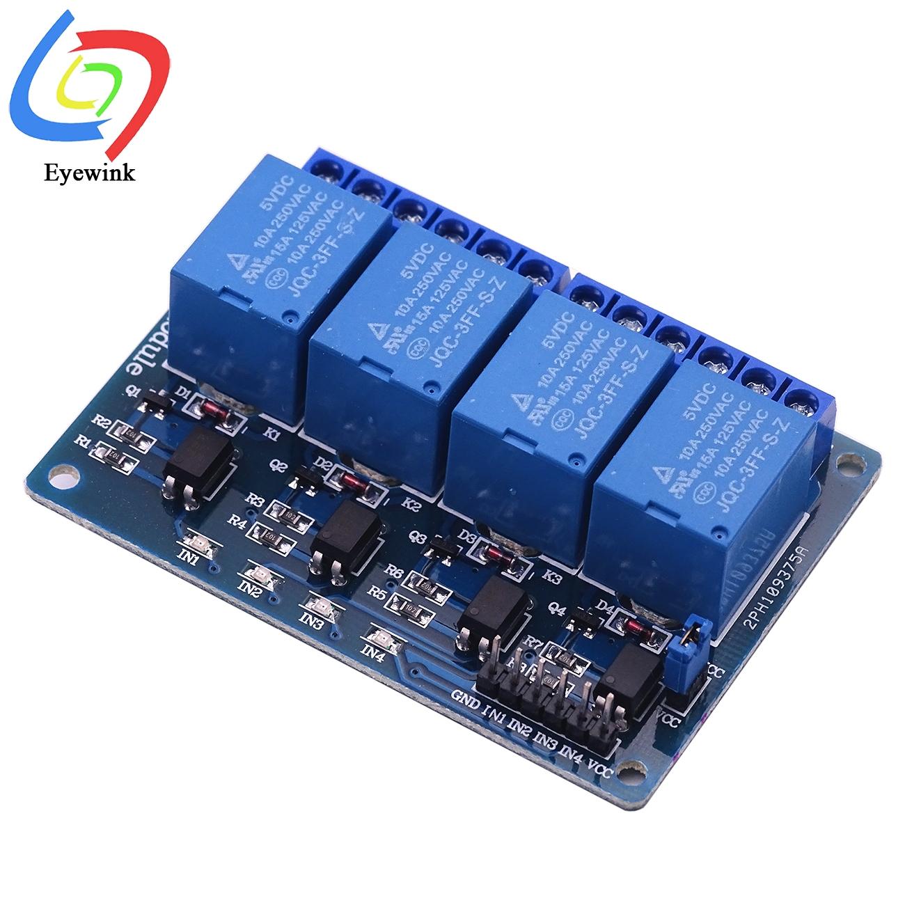 4-Канальный Релейный Модуль 5 В/12 В/24 В, 4-быстрое для Arduino с оптроном, релейный выход, 4-Канальный Релейный модуль, 4 канала