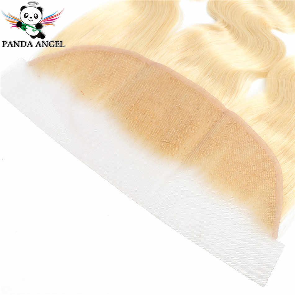 Panda anjo 13x4 rendas frontal 613 loira brasileiro remy cabelo humano onda do corpo laço frontal 13*4 orelha a orelha fechamento do laço frontal