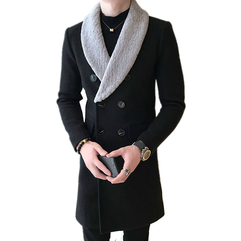 Men Winter Windbreaker Fashion Lapel Thick Section Fur Collar Long Double-breasted Simple Fashion Slim Warm Woolen Blended Coat