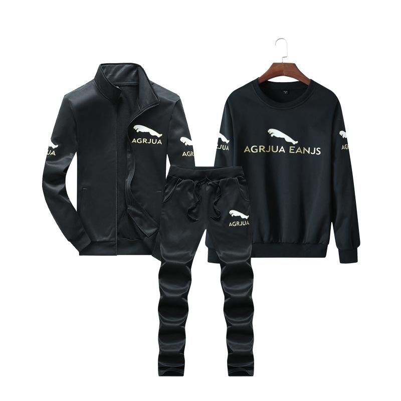 2018 Autumn & Winter New Products Printed Casual Sports Three-piece Set-Young MEN'S Stand Collar Hoodie Suit