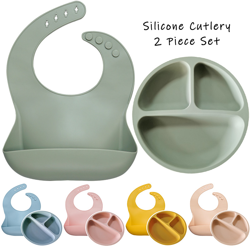 BPA Free Baby Silicone Feeding Platos Baby Bibs Suite Fashionable Pure Children's Dishes Bowl Baby Stuff Tableware Dropshipping