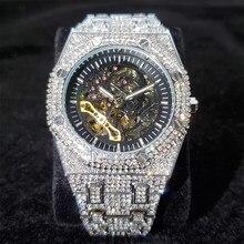 Часы MISSFOX Мужские механические, брендовые Роскошные автоматические оригинальные из нержавеющей стали, в стиле хип-хоп, белые золотые