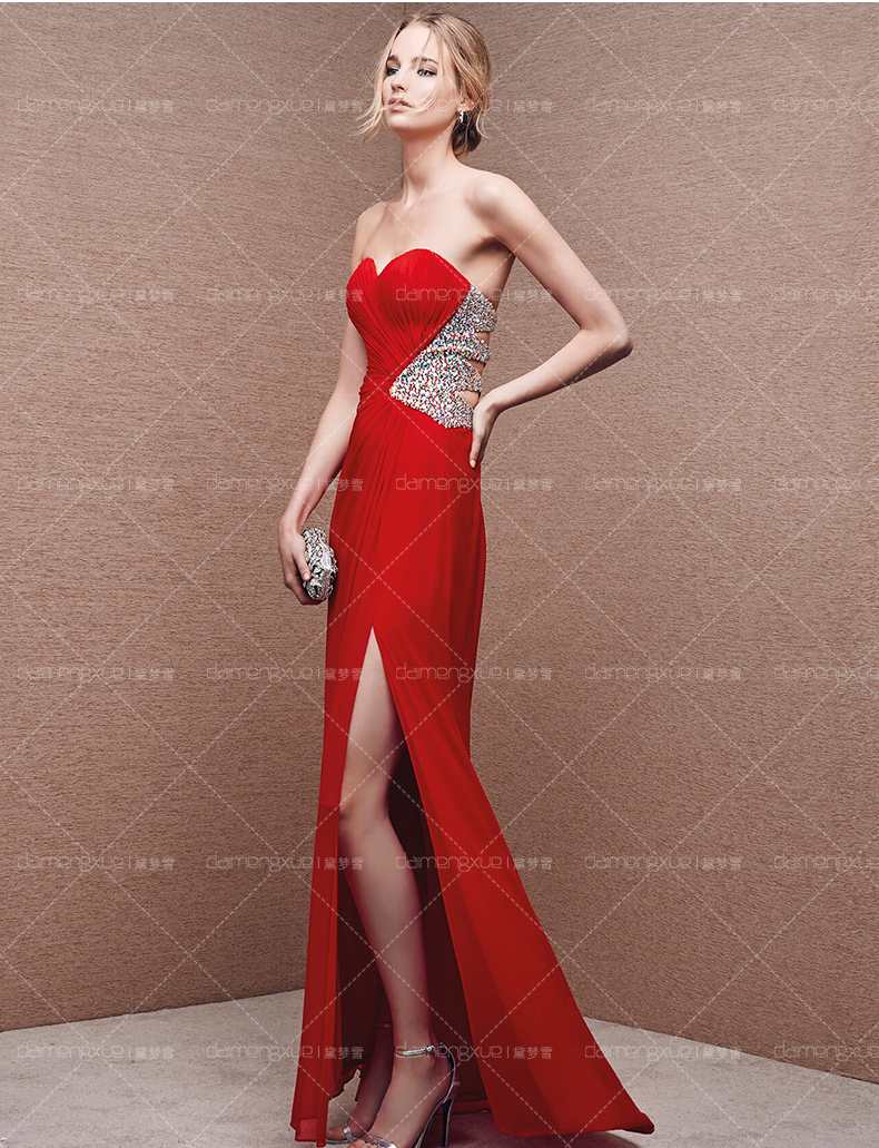 Free Shipping 2018 Vestido De Noiva Sweetheart Crystal Red Chiffon Sexy Hollow Out Custom Party Long Prom Bridesmaid Dresses