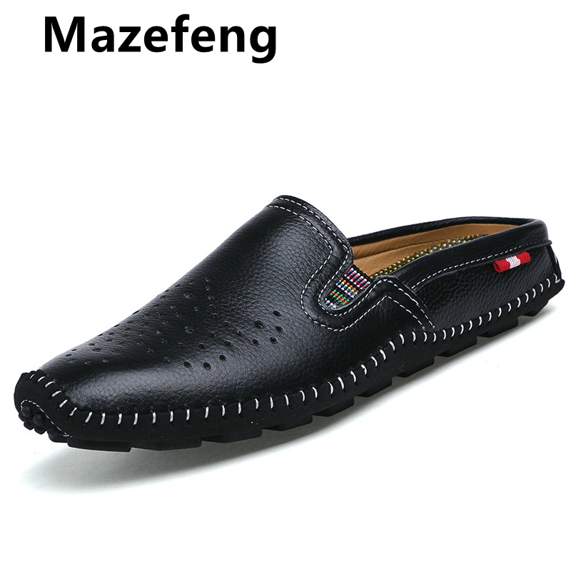 Mazefeng Genuine Leather Mens Shoes Casual Penny Loafers Luxury Brand Summer Breathable Half Slippers Slip On Men Flats Loafers