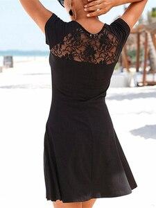 Black Back Elegant Lace Panel Dresses Women Summer Patchwork Classic Round Neckline Short Sleeve A-Line Beach Style Mini Dress