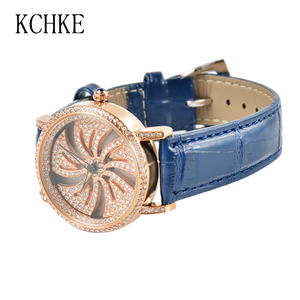 Image 5 - KCHKE New Creative Womens Watch Leather Strap Time Running Watch Women Romantic Simple Quartz Watch relogio feminino