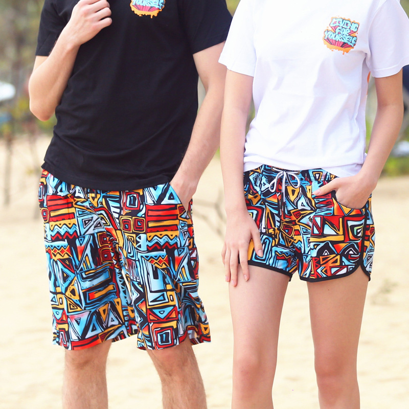 MEN'S Beach Shorts Couples Holiday Hot Springs Swimming Large Trunks Women's Thailand Travel Short Loose-Fit Shorts