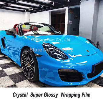 High Quality gloss blue Vinyl Wrap glossy blue wrap folie Car Wrap Vehicle Wrapping film Bubble Free quality Warranty image