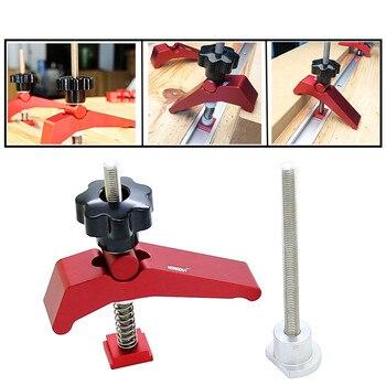цена на Wood Working Aluminum Alloy Quick Acting Hold Down Clamp T-Slot T-Track Clamp Set 60mm Fast Woodworking Tool kit Set of tools