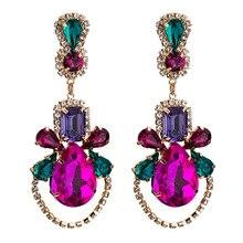 Luxury Crystal Geometric Big Earrings Exaggerated Rhinestone Water Drop Earring For Women Ear Jewelry Boho 2019 New pair of charming rhinestone faux crystal water drop earrings for women