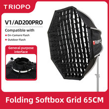 Triopo KX65 65cm Speedlite Octagon Umbrella Softbox + Honeycomb Grid Outdoor Flash Soft Box for Godox V1 Speedlite Flash