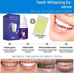 BREYLEE Oral Care Teeth Whitening Essence Effect Tea Yellow Stains Removal Tooth Whiten Cleaning Liquid With Cotton Swabs TSLM1