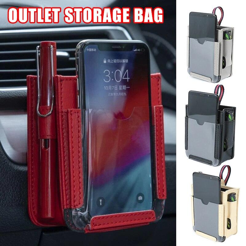 Local multifuncional bolso de carro automotivo ventilação ar do telefone móvel armazenamento bolsa pequeno saco m8617