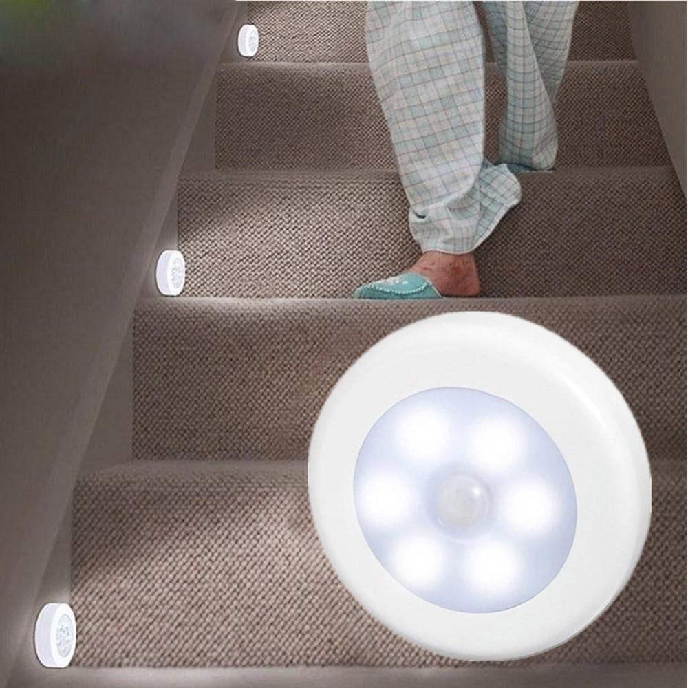 6 LED Night Light Motion Sensor Lamp Magnetic Wireless Detector Wall Lamps Auto On/Off Closet Hallway Cabinet Lights