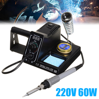 220V 60W LED Electric Soldering Iron Adjustable Digital Soldering Iron Kit Soldering Station with 5Pcs Soldering Iron Tips