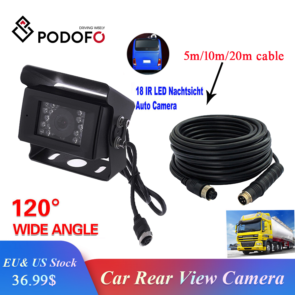 Podofo Car Rear View Camera Backup Camera For Bus RV Truck Trailer Heavy Duty + 5M/10M/15M/20M Aviation Connector Plug Cable