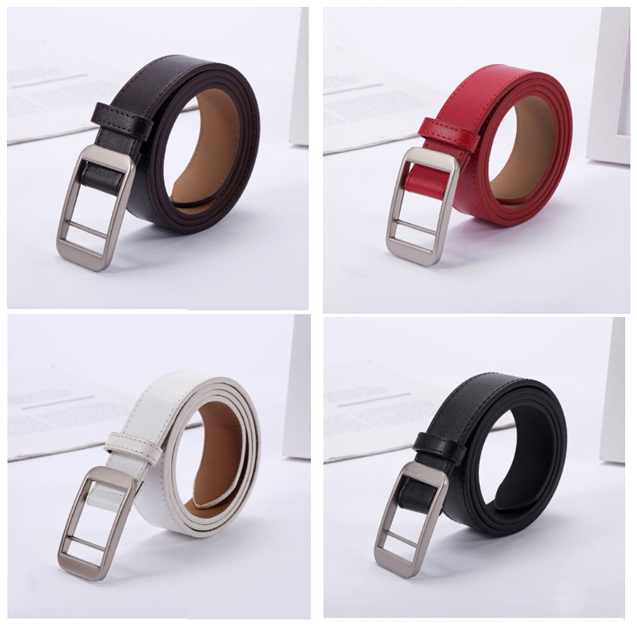 Square Buckle Ladies Belt Simple Retro Student Belt Adjustment Fashion Casual Without Holes