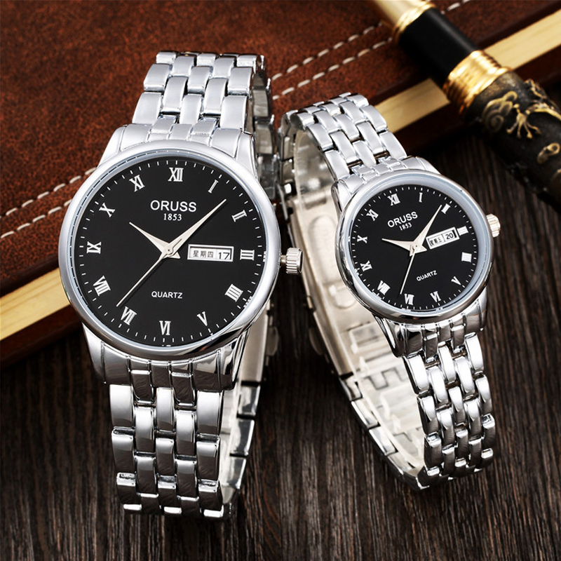 Relogio Masculino Oruss Lovers Watches Top Brand Luxury Watches Women Men Stainless Steel Week Calender Quartz Couple Watch