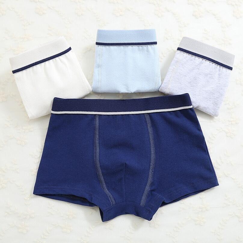 2Pc/lot Boys Pure Cotton Soft Boxers Underpants Baby Cute Kids Underwear Short Pant 2-10Y 3