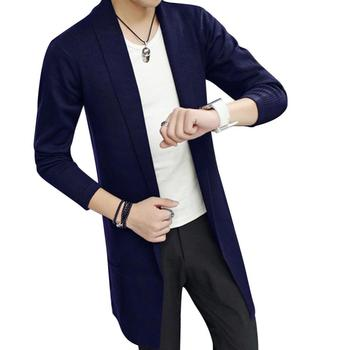 OLOEY Men Autumn And Winter Dress New Pattern Man Clothing Middle-long Cardigans Sweater Solid Color Tide long