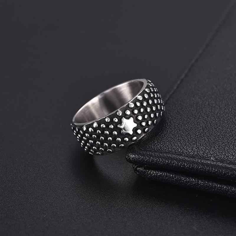 Jiayiqi クールなステンレス鋼リングパンクリング男性点状幾何指輪男性ヴィンテージリングジュエリーアクセサリー