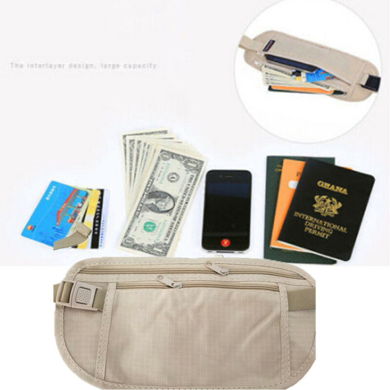 Thin Profile Money Belt Safe Travel Money Hidden Belt Cover Travel Passport Wallets Anti-Theft Passport Fanny Pack Holder Bags