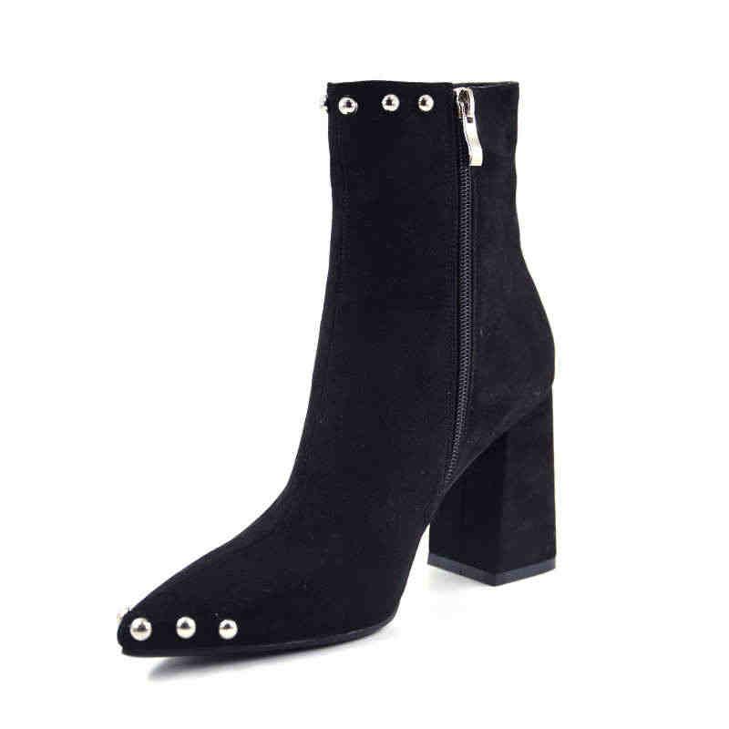 MORAZORA 2020 gorąca sprzedaż zamszowe botki damskie nit wskazał toe wysokie obcasy buty damskie jesień zima botki czarny