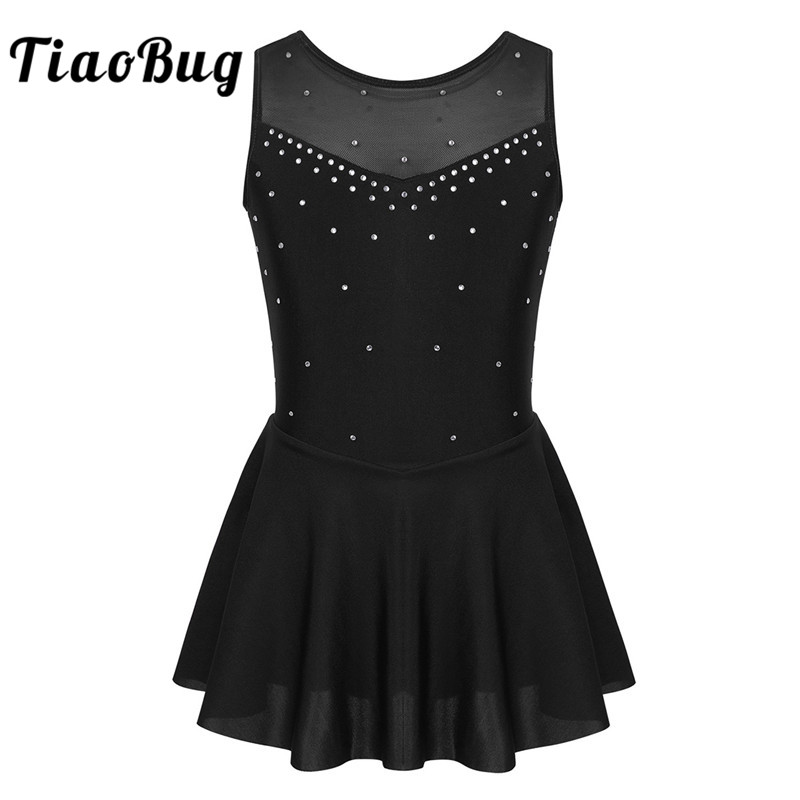 TiaoBug Kids Sparkly Rhinestones Tulle Sleeveless Ballet Gymnastics Leotard Girls Figure Skating Dress Lyrical Dance Costumes