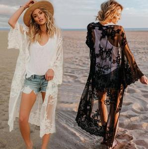 Image 1 - 2020 תחרה החוף לחפות Pareo חוף כיסוי למעלה Playa Pareo טוניקות עבור החוף בגדי ים נשים תחרה חוף שמלה # Q649