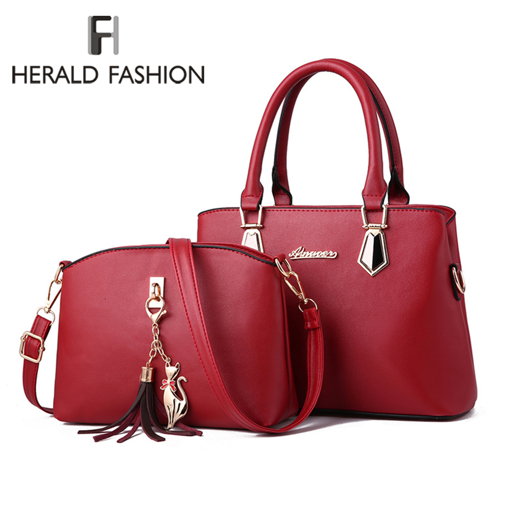 Women Bag Set Top-Handle Big Capacity Female Tassel Handbag Fashion Shoulder Bag Purse Ladies 2020 PU Leather Crossbody Bag