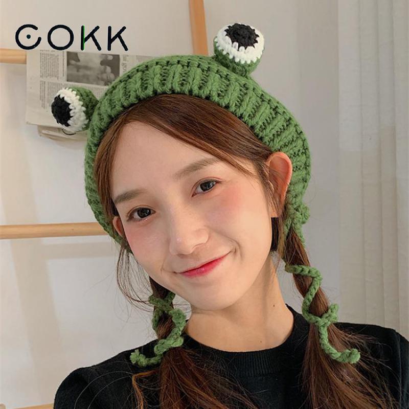 Женские вязаные шапки COKK, зимние шапки ручной работы в Корейском стиле с героями мультфильмов и большими глазами|Женские Skullies и шапочки|   | АлиЭкспресс