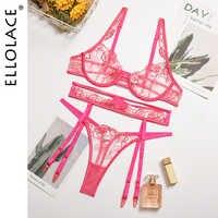 Ellolace-Conjunto de lencería sensual Floral, Conjunto de sujetador transparente, ropa interior para mujer, lencería bordada sensual, Sujetador de encaje Push Up