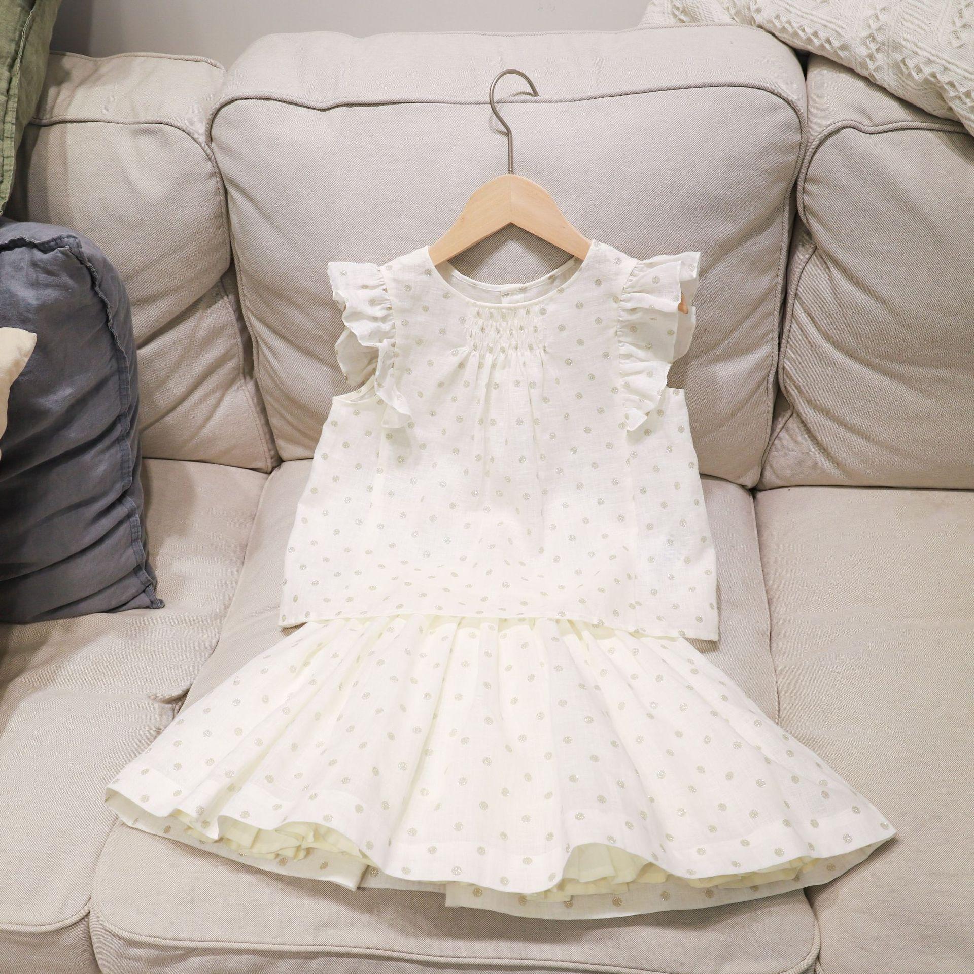 Pre-sell  April  10th Girls clothing set 2020 white color shining dot pattern girls tops + skirt 2pcs clothes set