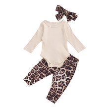 3PCS Newborn Baby Girls Clothes Long Sleeve Bodysuit Leopard Pants Headband autumn casual Outfits Set(China)