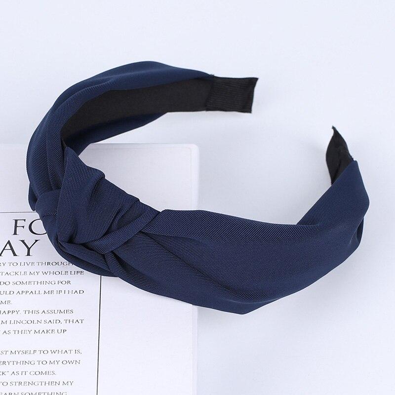 Couleur unie noeud bandeaux pour femmes Simple tissu filles bandeau femmes cheveux accessoires large côté bandeau 48