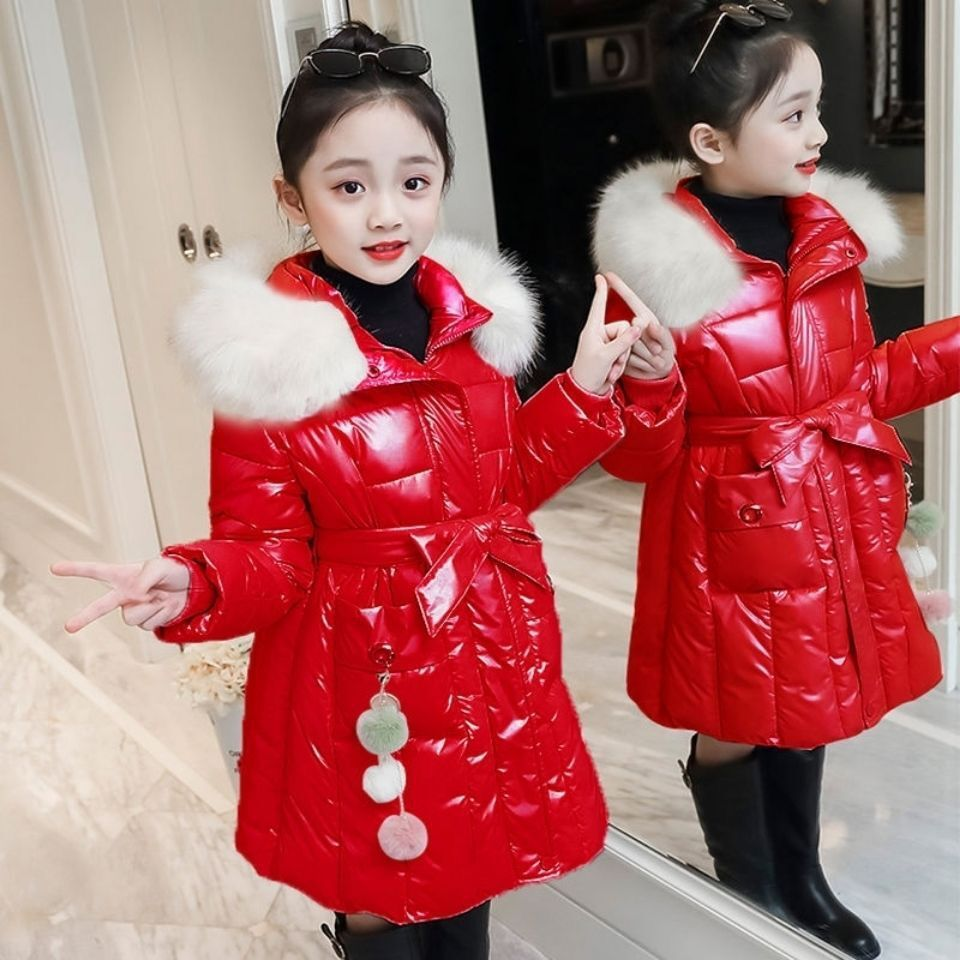 Glossy Long Childrens Jacket New Windbreaker For Girls  Thick Down Cotton Winter Coat  Jacket For Girls Suit 4-12 Years Old