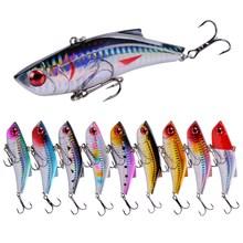 10PCS Winter Fish Vib Baits with sea hooks Laser Painting Fishing Lures Carp Bait isca artificial para pesca crankbait 8.9cm/28g