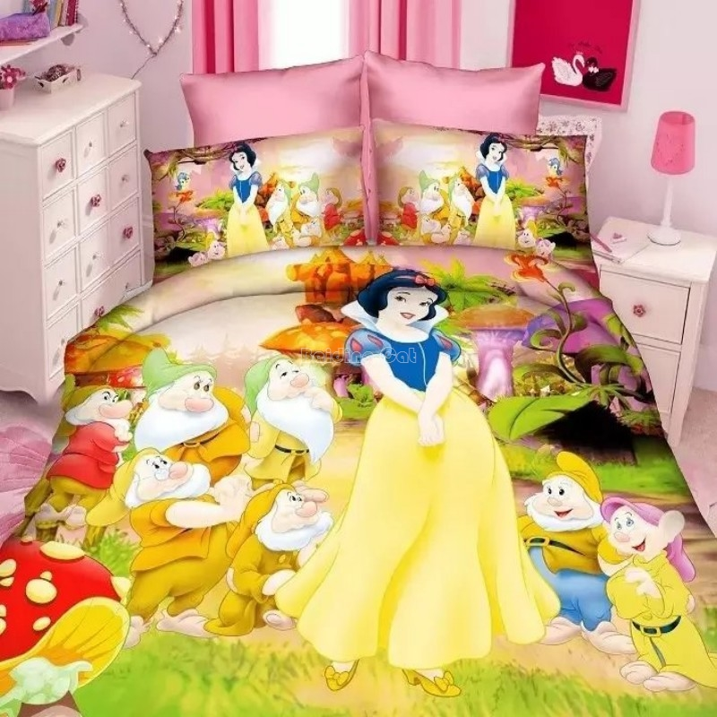 New Snow White Princess Bedding Set Kids Gilrs Boy Bed Linen Twin 2/3/4pcs Bedclothes Duvet Cover Set With Bed Sheet Pillowcases